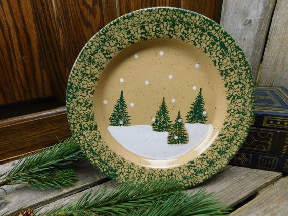Vintage Three Rivers Pottery Decorative Plate Pine Trees Tracy
