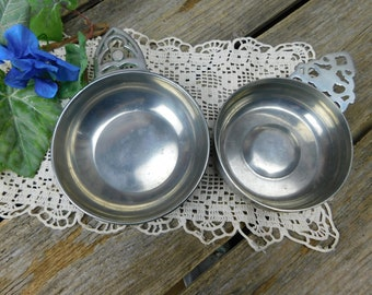 Set of 2 Vintage Pewter Porringers - Williamsburg Stieff Pewter - Royal Holland Pewter