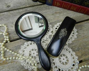 Antique Art Nouveau Ebony Wood Beveled Hand Mirror and Brush