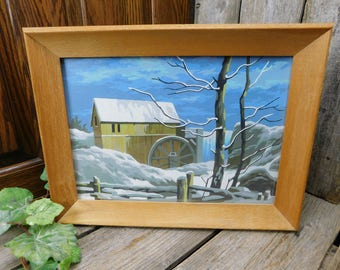 Vintage Mid Century Paint By Number - Old Water Mill in Winter