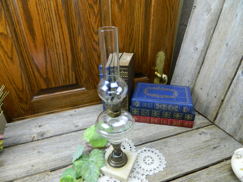 Primitive Hand Blown Glass On Sale.......Antique 19th Century Marble and Brass Whale Oil Hurricane Lamp