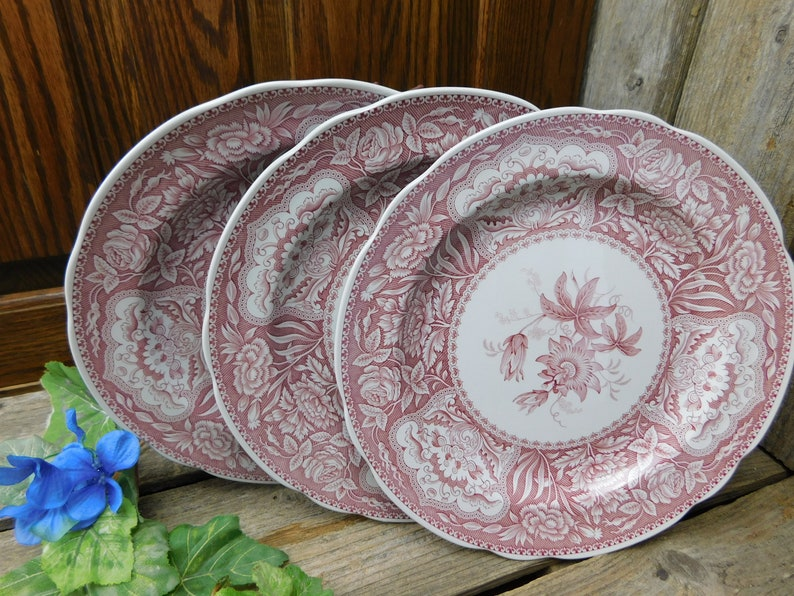 Set of 3 Spode Red Archive Collection Georgian Series Floral Dinner Plates