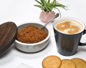Cuencos de hormigón con Tapadera de Madera   Tarro de cocina   Organizador de cocina   Recipiente de cocina   Salero y Azucarero moderno