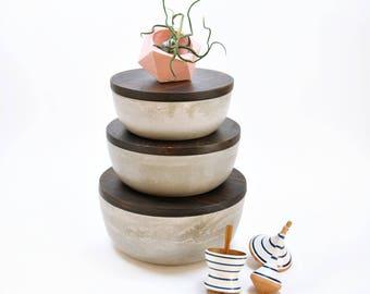 Tarros de cocina Set de 3   Juego de botes   Organizador de cocina   Recipiente de cocina   Cuencos apilables con tapadera de madera