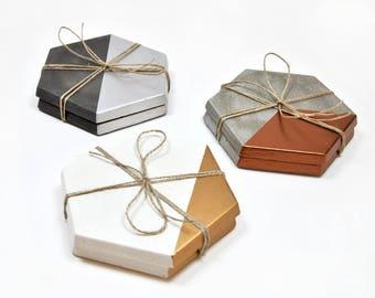 Set posavasos geométricos   posavasos hormigón y cobre, oro o plata   Posavasos modernos   posavasos cemento hexagonales   Regalo Arquitecto