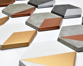 Set de 4 posavasos modernos de hormigón   Posavasos geométricos   regalo de boda   posavasos de cemento   regalo arquitecto   minimalista