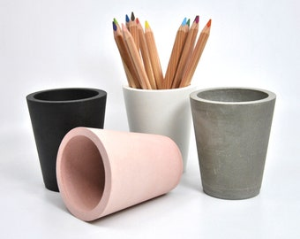 Concrete pencil holder Modern office desk cement pencil cup office decor gift for architect toothbrush holder bathroom accessory