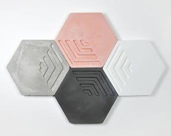 Posavasos modernos de concrete hexagonales   Posavasos geométricos   Regalo Boda   Regalo para el   Regalo arquitecto   Set de 2, 4 y 6 und