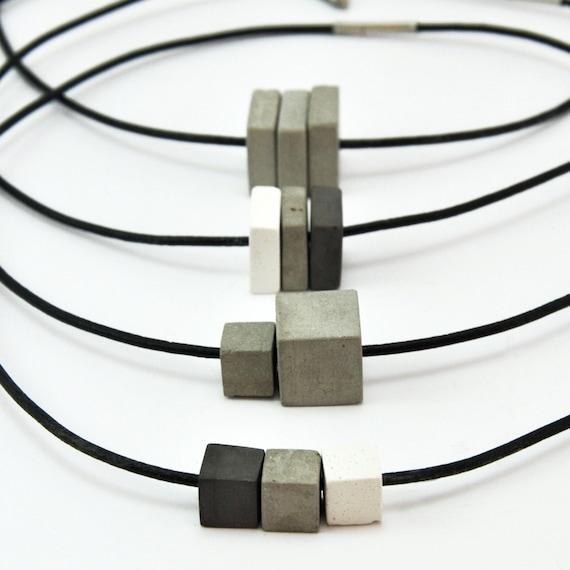Concrete handmade necklace/_ concrete handmade necklace-leather /_ Leather Mens ladies unisex jewelry.