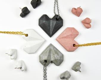 Conjunto de Colgante y pendientes   Regalo de San Valentín   Joyas de cemento   Regalo para Novia   Joyas modernas   Regalo para ella