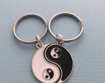 His and Hers Pair Long Distance Boyfriend 2 Friends Matching Set BFF Keychains Yin Yang Keyrings Gift for Sibling Male Friend Present