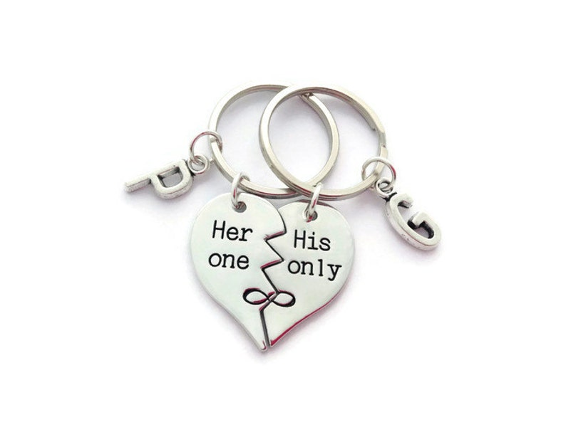52e5c2e3b5c08 Her One His Only Keyrings, Couples Set, Personalized Half Heart Keychains,  Husband Gift, For Her and Him, Present For Boyfriend, Wedding