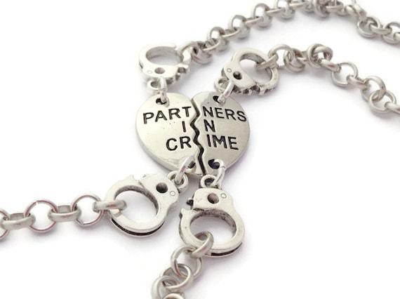Handcuff Jewellery Custom Birthstone Friendship Token Partner in Crime Bracelet Best Friend Present 2 Initials Gifts Personalised Gift