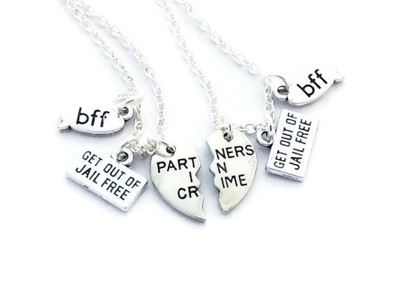 Matching gemstone necklaces  great gift for bff sibling or partner in crime