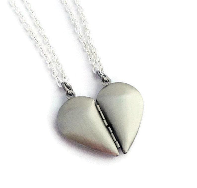 aa69c14594 Broken Heart Lockets 2 Sister Necklaces Mother Daughter   Etsy