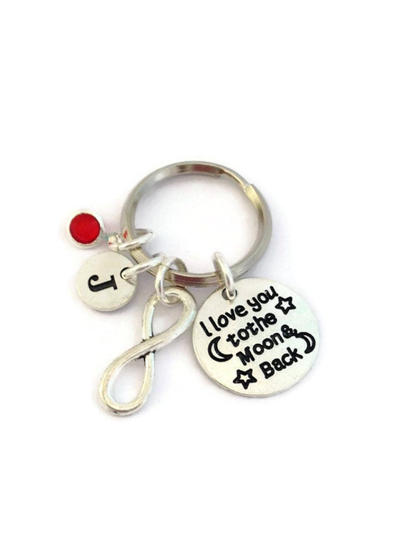 Personalised Engraved Keyring Keychain Birthday Gift Love you to the moon