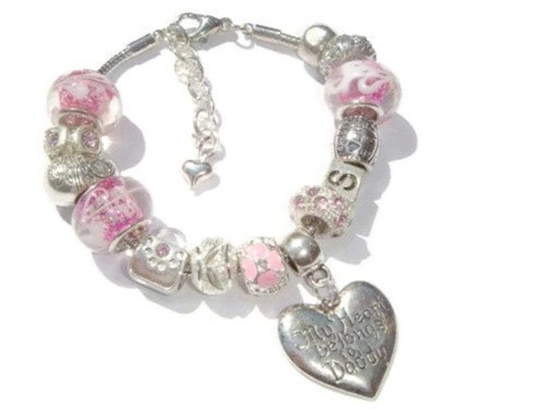 Happy Birthday Rhinestone Heart Present Gift Dangle Charm for European Bracelets