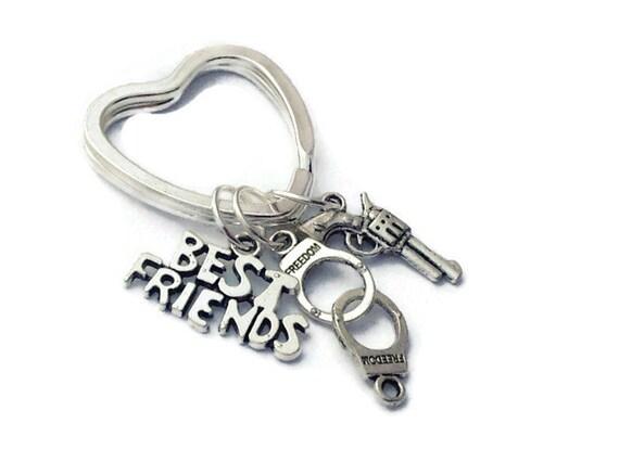 Partners in Crime Keychain Best Friend Gift Bestie Key Chain Handcuff Keychain