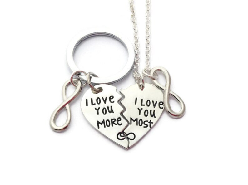 7628b823a08f4 Half Heart Set, Halve Heart Keychain, Heart Necklace, Gift for Couples,  Love Keyring, Splitter Heart, I Love You More, I Love You Most
