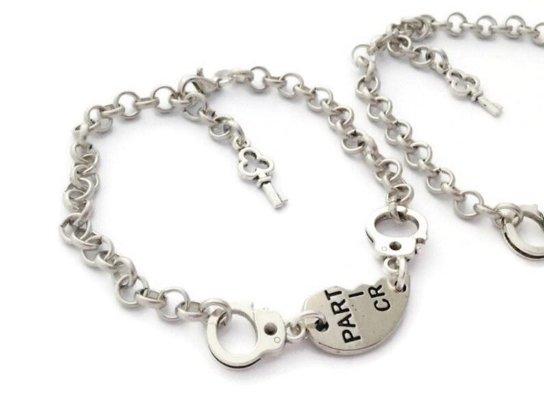 Half Hearts Set 2 Partners in Crime Friendship Bracelet Handcuffs Best Friend Goodbye Gift Long Distance Relationship Mother Daughter