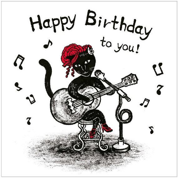 Original Birthday Card Singing Cat With Guitar Image 0