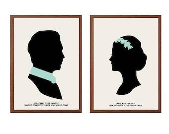 Downton Abbey | Glad To Hear It Poster : Modern Illustration Matthew  & Mary Crawley TV Series Retro Art Wall Decor