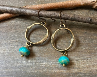 Turquoise and Bronze Textured Loop Earrings