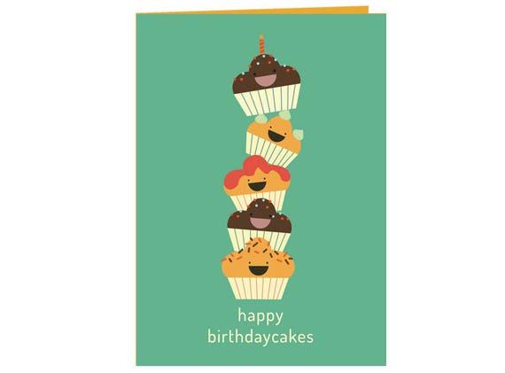 Enjoyable Funny Happy Birthday Cakes Birthday Card Kids And Adults Etsy Personalised Birthday Cards Veneteletsinfo