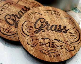 Anniversary Gift, Ready to Gift Personalized Wood Coasters for Any Anniversary