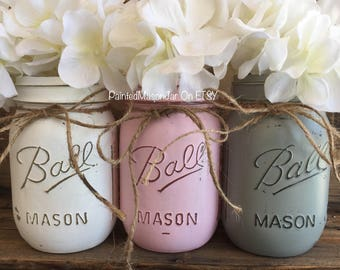 Painted Mason Jars, Mason Jars, Flower Vases, Baby Girl, Its A Girl, Pink Centerpieces, Pink and Gray Baby Girl Decorations, Pink And Gray