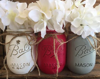 Painted Mason Jars, Mason Jars, Flower Vases, Its A Girl, Dark Pink Centerpieces, Pink and Gray Baby Girl Decorations, Pink And Gray