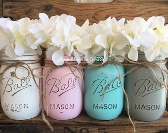 Painted Mason Jars, Mason Jars, Flower Vases, Centerpieces, Gender Reveal Decorations, Pink And Blue Mason Jars, Its a Girl, Its A Boy