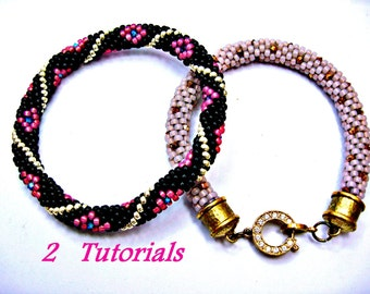 Tutorial, 2 Bead Crochet Bracelet Bangle Patterns, Dotty and Diamond Swirl Bangle with Invisible Join