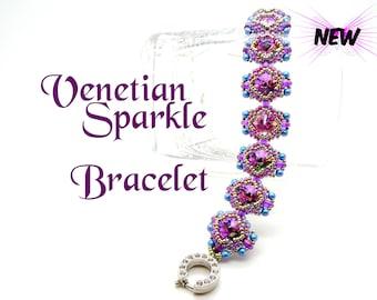 Tutorial Venetian Sparkle Bracelet Pattern. Step by Step instructions. Seed beads Swarovski crystals. Original design by Butterfly Bead Kits