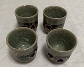 Vintage Japanese Somayaki Unique Green Double Wall Punch Sake Cups or Mugs Set of 4