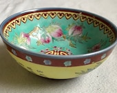 Oriental Vintage Chinese Longevity Happiness Yellow Ground Outside Turquoise Ground Inside Pottery Rice Bowl