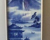 Chinese Hanging Plaque Blue and White Porcelain Figurine Figure Frame