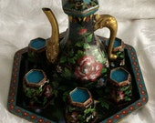 Chinese Antique Export Enameled Cloisonne Octagon Teaset With Covered Pot 6 Cups and Tray