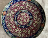 Vintage Japanese Enamel Meiji Imari Flower Charger Plate