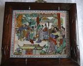 Chinese Antique Famille Verte Rose Porcelain Plaque Figurine Figure Wooden Frame