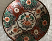 Japanese Imari Gold Hand Painted Plate Platter Japan Antique Floral Pattern with Pewter Cladding