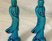 A Pair Of 7 quot Antique Chinese Turquoise Blue Porcelain Statues Figurines Quan Yin