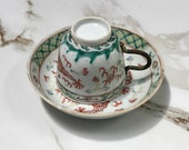 Antiques Chinese Porcelain Famille Rose Hand Painted Dragon Phoenix Cup and Saucer of Five 19th Century