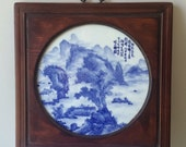 Chinese Framed Circular Blue and White Porcelain Plaque Mountain Landscape