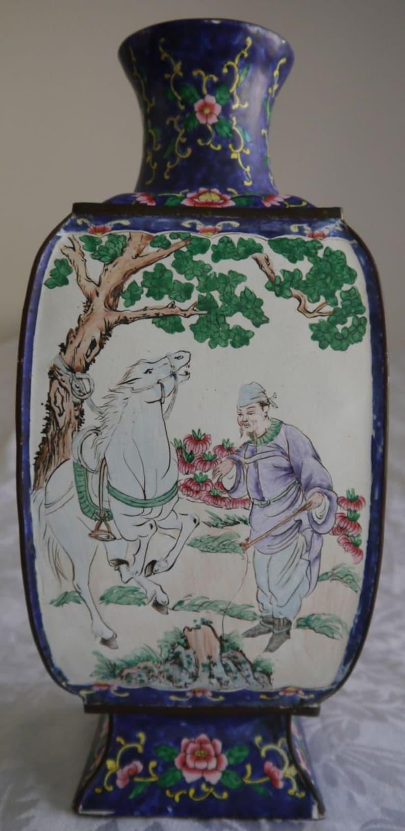 Florero Chino Canton Pintado Chinese 19th Century Esmalte Porcelain Antiques