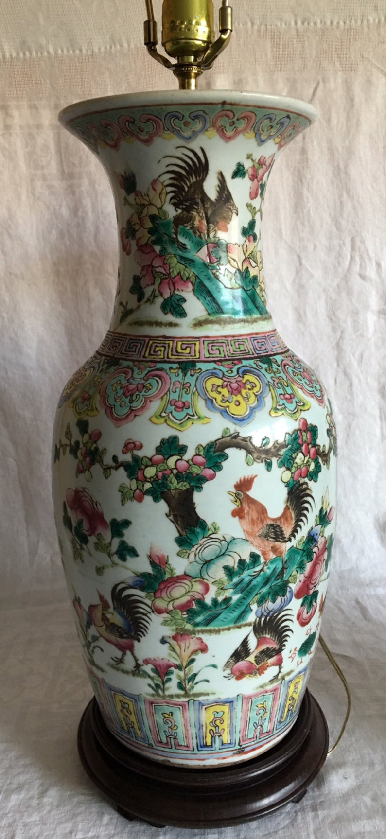 Antique Chinese Pair Of Famille Rose Rooster Porcelain Etsy