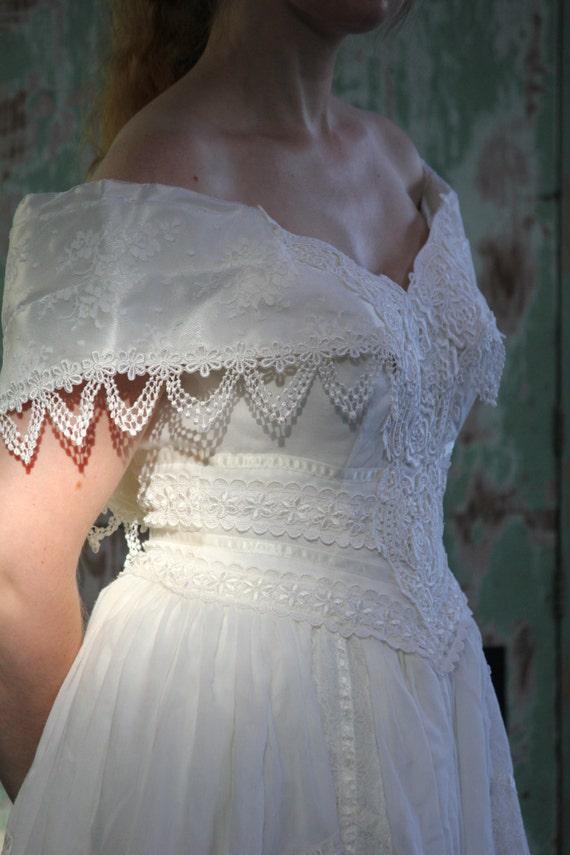 escote de fichu blanco algodón mezcla del hombro encaje vtg | etsy