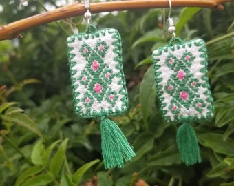 Hand embroidered, boho-chic, colorful earrings, cute tassels