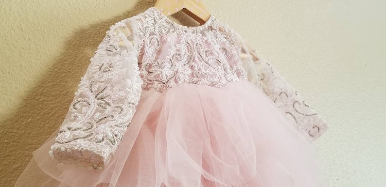 Long Sleeve net flower tutu dress