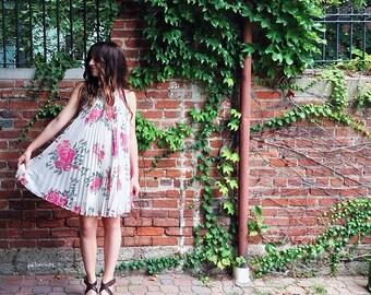 Chiffon floral pleated dress